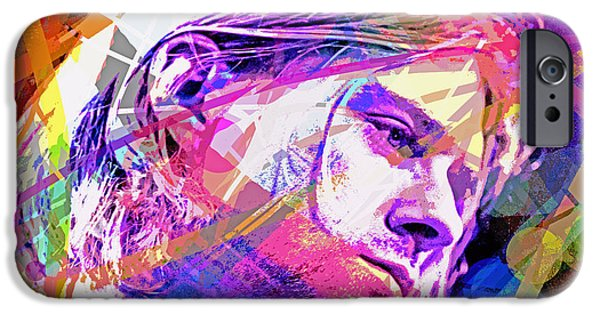 Famous Faces iPhone Cases - Kurt Cobain 27 iPhone Case by David Lloyd Glover