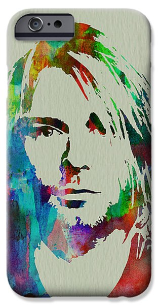 Watercolors Paintings iPhone Cases - Kurt Cobain Nirvana iPhone Case by Naxart Studio