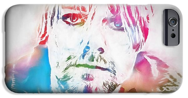 Dave Grohl iPhone Cases - Kurt Cobain Watercolor iPhone Case by Dan Sproul