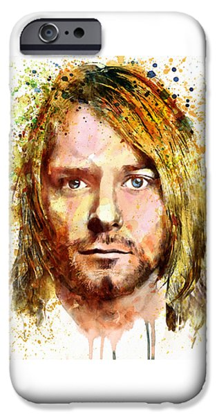 Paiting iPhone Cases - Kurt Cobain watercolor iPhone Case by Marian Voicu