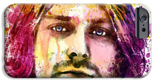 Paiting iPhone Cases - Kurt Cobain watercolor painting iPhone Case by Marian Voicu