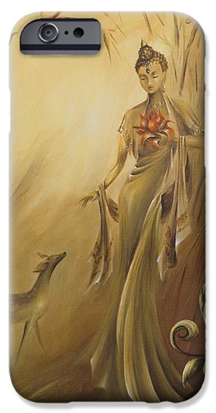 Yin Paintings iPhone Cases - Kwan Yins Garden iPhone Case by Dina Dargo
