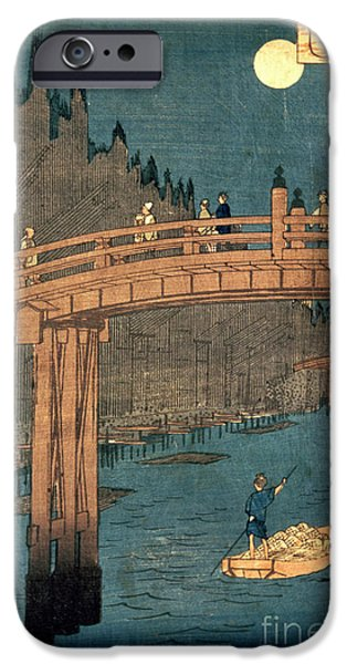 Series iPhone Cases - Kyoto bridge by moonlight iPhone Case by Hiroshige