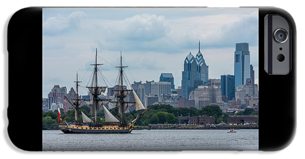 Boat iPhone Cases - L Hermione Philadelphia Skyline iPhone Case by Terry DeLuco