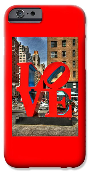 Sign iPhone Cases - L O V E in the Big Apple iPhone Case by Allen Beatty