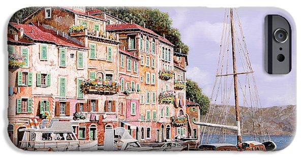 Sunshine Paintings iPhone Cases - La Barca Rossa Alla Calata iPhone Case by Guido Borelli
