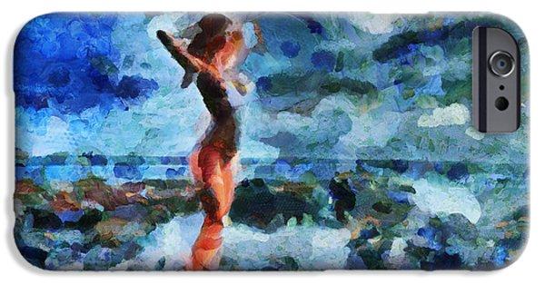 D.c. iPhone Cases - La Beaute Est Venu De La Mer - Painting  iPhone Case by Sir Josef  Putsche