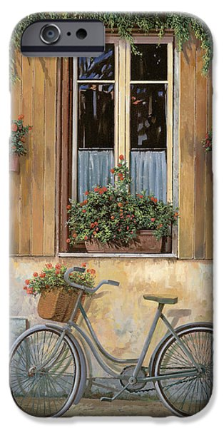 Window Paintings iPhone Cases - La Bici iPhone Case by Guido Borelli