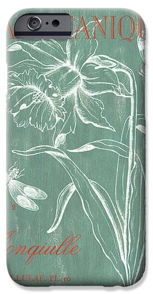Flowers Drawings iPhone Cases - La Botanique Aqua iPhone Case by Debbie DeWitt