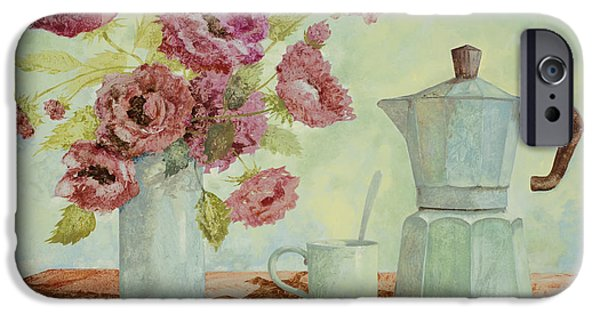 Flower Still Life iPhone Cases - La Caffettiera E I Fiori Amaranto iPhone Case by Guido Borelli