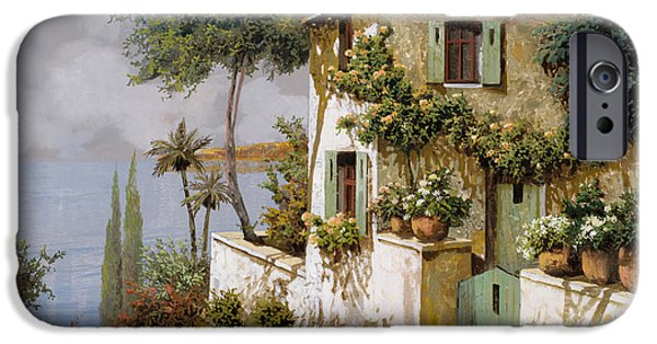 Lakescape iPhone Cases - La Casa Giallo-verde iPhone Case by Guido Borelli