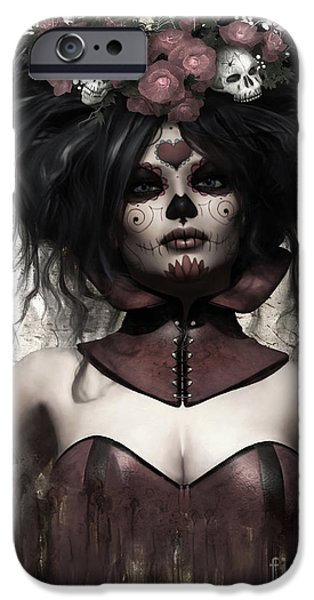 Big Hair iPhone Cases - La Catrina iPhone Case by Shanina Conway