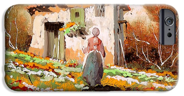Lady Paintings iPhone Cases - La Donzelletta iPhone Case by Guido Borelli