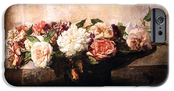 Painter Photographs iPhone Cases - La Farges Roses In A Shallow Bowl iPhone Case by Cora Wandel