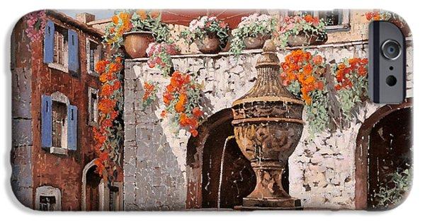 Umbrella Paintings iPhone Cases - la fontana a St Paul de Vence iPhone Case by Guido Borelli