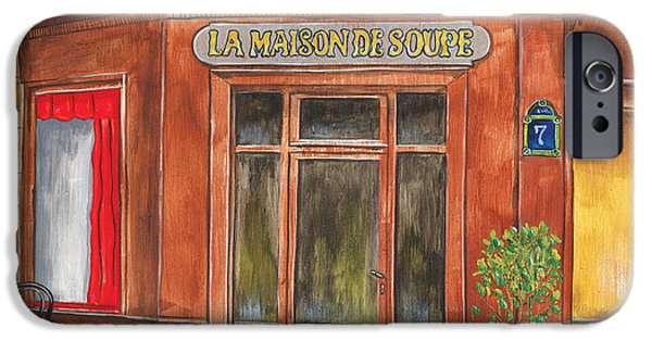 Boxes Paintings iPhone Cases - La Maison de Soupe iPhone Case by Debbie DeWitt