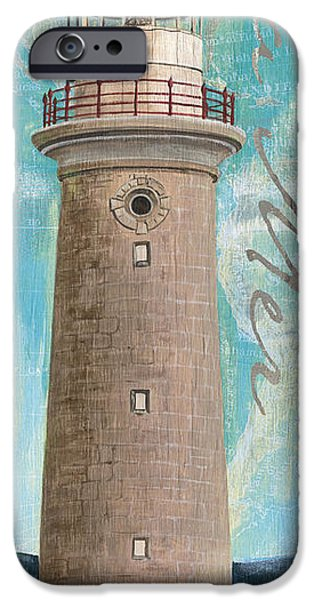 Maps Paintings iPhone Cases - La Mer Lighthouse iPhone Case by Debbie DeWitt