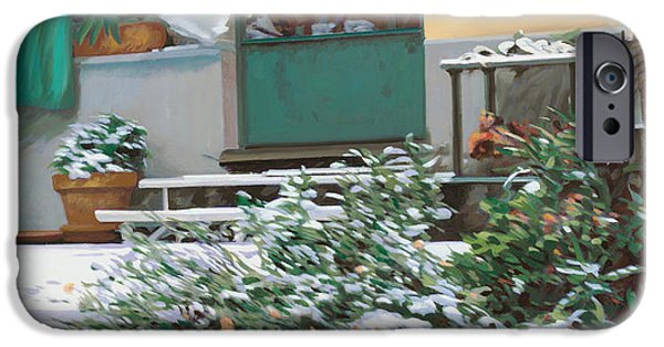 Home Paintings iPhone Cases - La Neve A Casa iPhone Case by Guido Borelli
