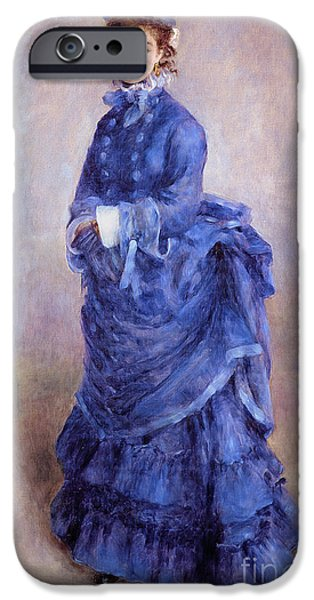 Blue iPhone Cases - La Parisienne The Blue Lady  iPhone Case by Pierre Auguste Renoir