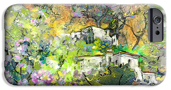 Village Mixed Media iPhone Cases - La Provence 07 iPhone Case by Miki De Goodaboom