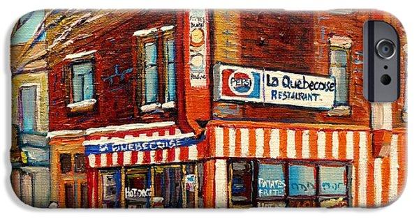 Business Paintings iPhone Cases - La Quebecoise Restaurant Deli iPhone Case by Carole Spandau
