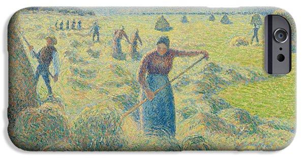 Camille Pissarro iPhone Cases - The Harvesting of Hay Eragny  iPhone Case by Camille Pissarro