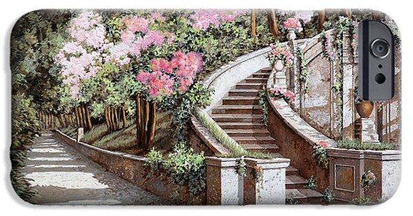 Stairs iPhone Cases - La Scalinata E I Fiori Rosa iPhone Case by Guido Borelli