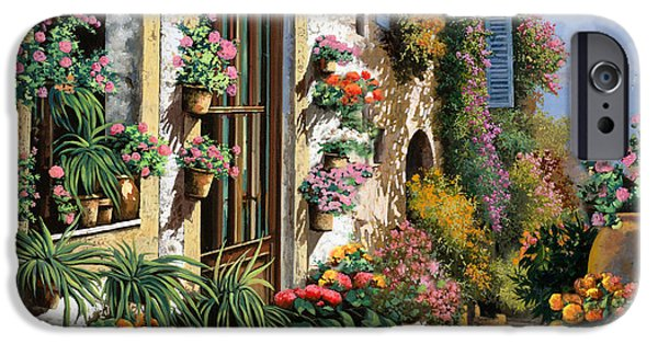 Window Paintings iPhone Cases - La Strada Del Lago iPhone Case by Guido Borelli