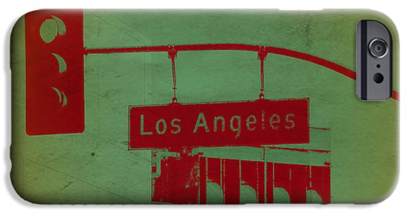 Modernism iPhone Cases - LA Street Ligh iPhone Case by Naxart Studio