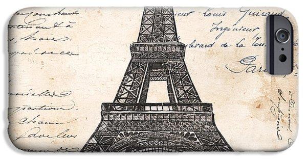 Pen And Ink iPhone Cases - La Tour Eiffel iPhone Case by Debbie DeWitt