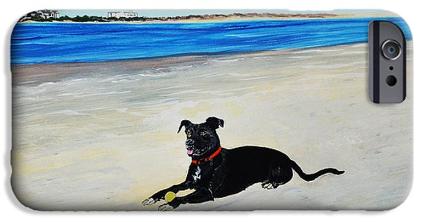 Black Dog iPhone Cases - Lab loving the Beach iPhone Case by Donna Mann