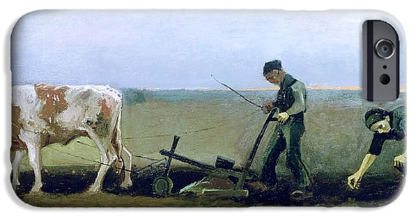 Agricultural Paintings iPhone Cases - Labourer and Peasant  iPhone Case by Vincent van Gogh