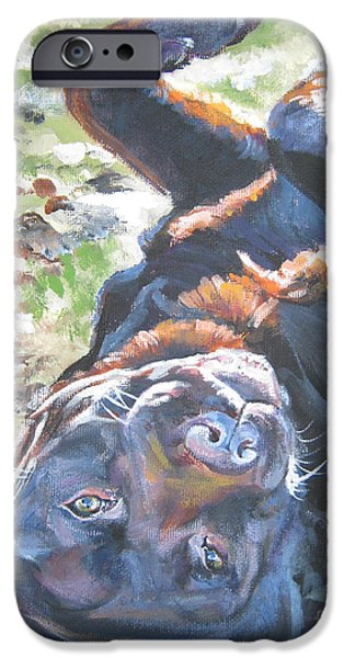 Chocolate Labrador Retriever Paintings iPhone Cases - Labrador retriever chocolate fun iPhone Case by L A Shepard