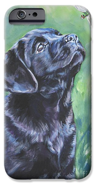 Labrador Retriever pup and dragonfly iPhone Case by L A Shepard