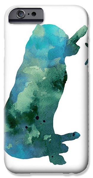 Print Jewelry iPhone Cases - Labrador silhouette artwork watercolor painting iPhone Case by Joanna Szmerdt