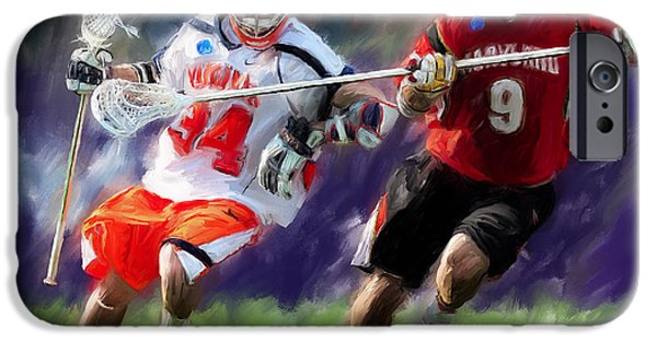 Digital Paintings iPhone Cases - Lacrosse Close D iPhone Case by Scott Melby