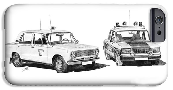 Police Drawings iPhone Cases - Lada VAZ 21011 Taxi 2107 Police iPhone Case by Gabor Vida