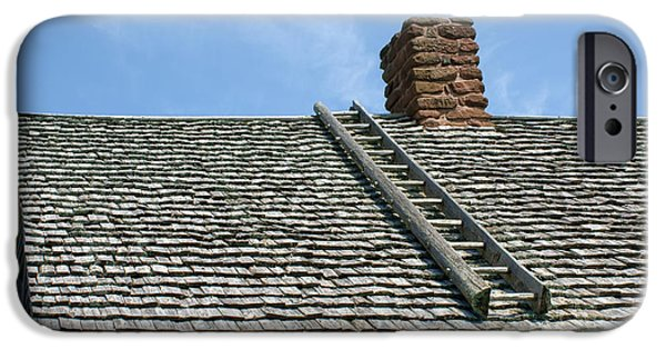 House iPhone Cases - Ladder - Shingled Roof - Maison Doucet iPhone Case by Nikolyn McDonald