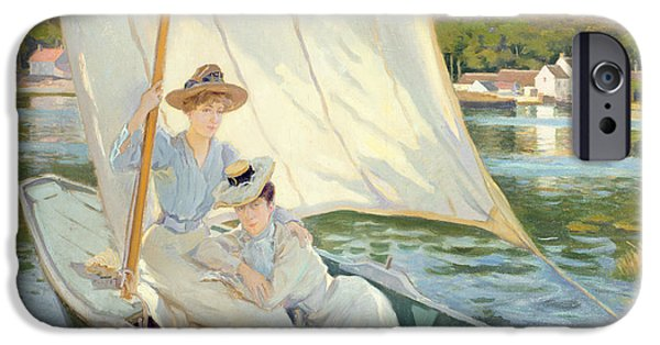 Pastimes iPhone Cases - Ladies in a Sailing Boat  iPhone Case by Jules Cayron