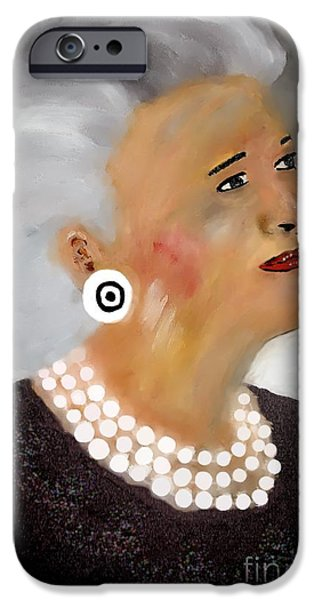 Gray Hair Mixed Media iPhone Cases - Lady B iPhone Case by Mira Dimitrijevic