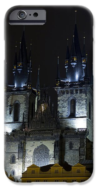 Built Structure iPhone Cases - Lady before Tyn towers iPhone Case by Chris Smith