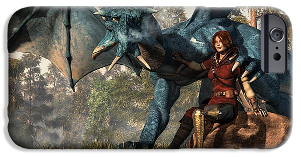 Dungeons iPhone Cases - Lady Blue Dragon iPhone Case by Daniel Eskridge