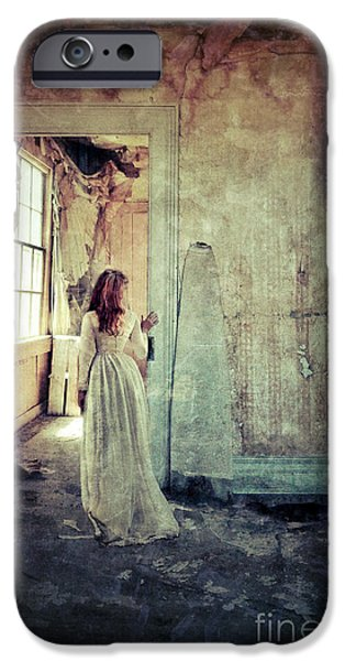 Strange iPhone Cases - Lady in an Old Abandoned House iPhone Case by Jill Battaglia