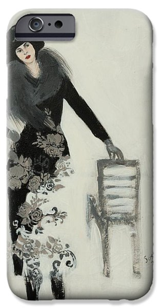 Black Portrait Drawings iPhone Cases - Lady in Black with Flowers iPhone Case by Susan Adams