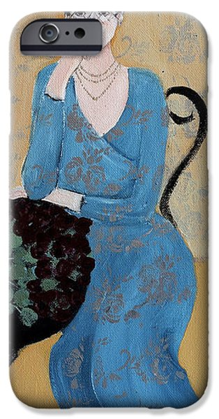Portraits Drawings iPhone Cases - Lady in Blue Seated iPhone Case by Susan Adams