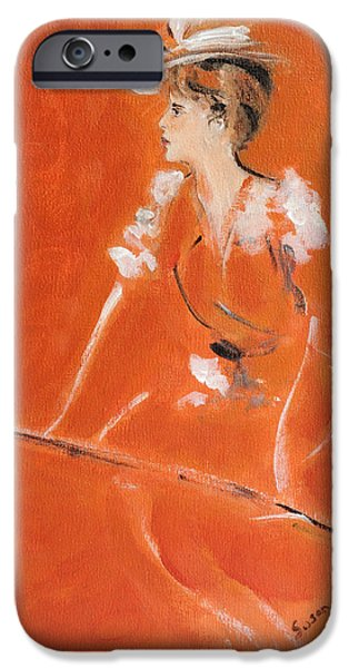 Signed Drawings iPhone Cases - Lady In Orange iPhone Case by Susan Adams
