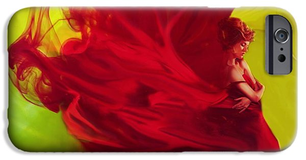 Abstract Digital iPhone Cases - Lady in Red Ink iPhone Case by Lilia D