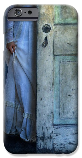 Lady in Vintage Clothing Hiding Behind Old Door iPhone Case by Jill Battaglia