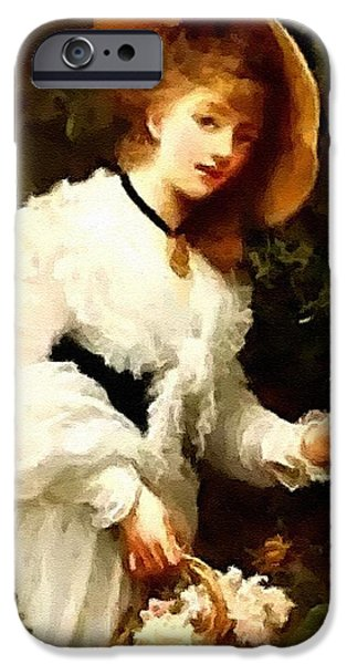 Business Pastels iPhone Cases - Lady In White Dress Picking White Roses H A iPhone Case by Gert J Rheeders