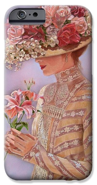 Hat iPhone Cases - Lady Jessica iPhone Case by Sue Halstenberg